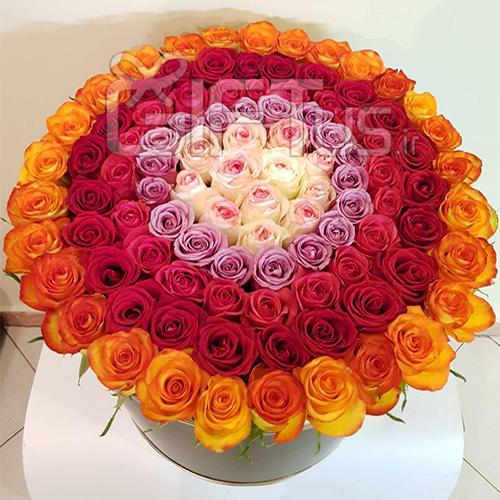 باکس 150 شاخه گل رز طبیعی  